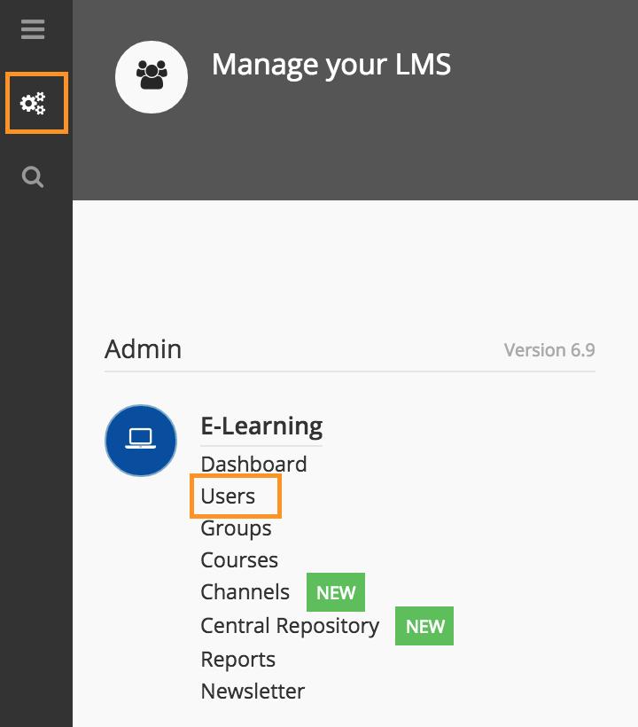 admin menu users